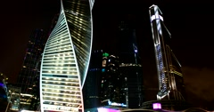 One of the most beautiful skyscrapers of Mos. The night shimmers like a rainbow Stock Footage