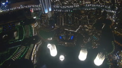 Aerial view Dubai Fountain water show amazing tourism attraction city emblem fun Stock Footage