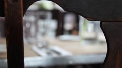 Fork knife plate on a table of restaurant Stock Footage