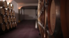 Cellar with wine barrels Stock Footage