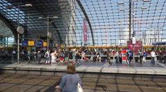 People waiting at main train station (Berlin Hauptbahnhof) time lapse Stock Footage