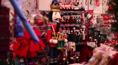 Market in new york street selling Christmas ornaments Stock Footage