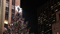 Christmas tree in Rockefeller Center in New York Stock Footage