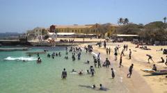 Black children in a African beach - Gore island, Dakar, Senegal Stock Footage
