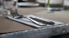 Fork and knife on a table Stock Footage