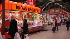 People walking in St. Lawrence Market, canada Stock Footage
