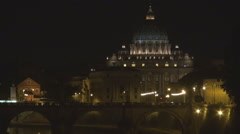 Closeup Saint Peters Cathedral by night Vatican symbol Rome tourist attraction Stock Footage