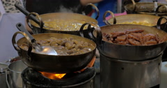 Dishes cooked in street restaurant of Bangkok, Thailand Stock Footage