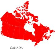 Canadian Map on white background Stock Illustration
