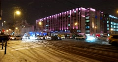 The snow-covered roadway of Tverskaya street on the eve of Christmas Stock Footage