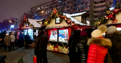 Traditional Christmas fair is held in Moscow on Tverskoy Boulevard Stock Footage