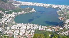 View from the Corcovado on Lagoa in Rio Stock Footage