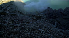 View of mountain volcano crater with acidic lake Indonesia Stock Footage