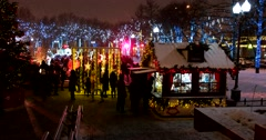 Christmas fair, the city is decorated, Christmas light shines Stock Footage