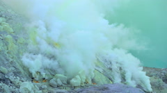 Sulphur mining area volcanic crater South East Asia Indonesia Stock Footage