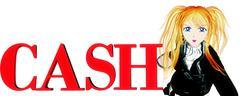 Logo of CASH and cartoon girl Stock Illustration