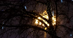 "Lit garlands, installations and art objects of the festival ""Christmas light"" Stock Footage"