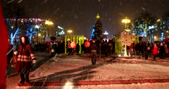 Christmas tree and light installations are installed in the center of Moscow Stock Footage