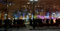 Christmas light installations in the city, wonderful snowfall Stock Footage