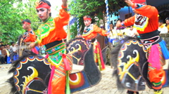 Jaranan music dancers performing and playing instruments Java Stock Footage
