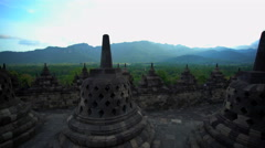 Borobudur religious temple an ancient tourism wonder Java Stock Footage