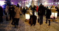 Christmas light installation on Pushkin square, snow, dark Stock Footage