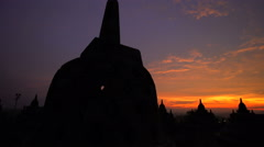 View of Borobudur at sunrise a religious temple an ancient wonder Java Stock Footage