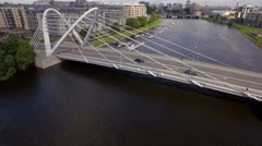 Aerial view of the cable-stayed bridge Stock Footage