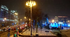 Got snowed in holiday city tube on the Central street of the city Stock Footage