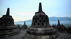 Borobudur a stone Landmark and monument a temple to Hinduism Java Stock Footage