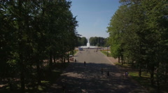 Aerial view of the fountain in the Park Stock Footage
