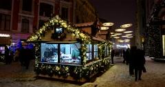 New year - a fabulous holiday fair winter evening illuminations at night Stock Footage