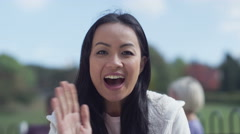 4K Happy young woman having a video chat Stock Footage