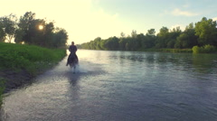 CLOSE UP: Senior man riding strong brown horse trotting in shallow wide river Stock Footage