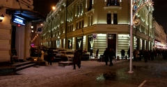 Christmas eve, festive on the streets of Moscow during the winter holidays Stock Footage