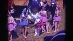 1948: a circus is being set up, people are seen bringing their props they need Stock Footage