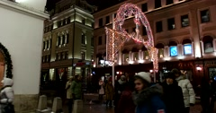 Festive installation to the streets of Moscow during Christmas holidays Stock Footage