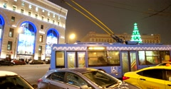 Lubyanka square, Moscow winter, new year tree on Lubyanka square Stock Footage