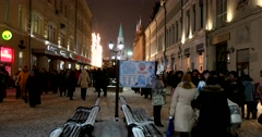 People walking on Nikitsky on Red square to celebrate the New year Stock Footage