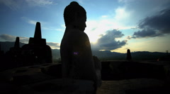 Tourists visiting Borobudur a Landmark monument a temple to Hinduism Java Stock Footage