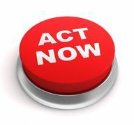 Act now button concept 3d illustration Stock Illustration