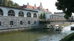 The Ljubljanica river in Ljubljana Stock Footage