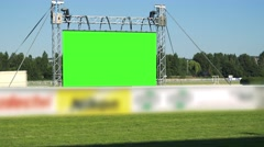 Big television - green screen - on racecourse  Stock Footage