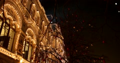 Christmas illuminations in red square, the building of GUM Department store Stock Footage