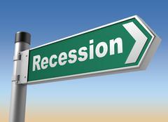Recession road sign Stock Illustration
