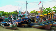 Indonesian local traditional wooden fishing boats Java South East Asia Stock Footage
