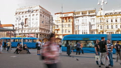 Tram stop at in Zagreb Stock Footage