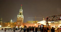 The winter's tale in Moscow the Kremlin, snow, bright lights Stock Footage