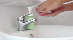 Washing Hand With Foam Soap Footage Stock Footage