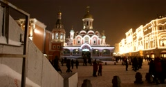 Winter Moscow, Cathedral of our lady of Kazan on red square Stock Footage